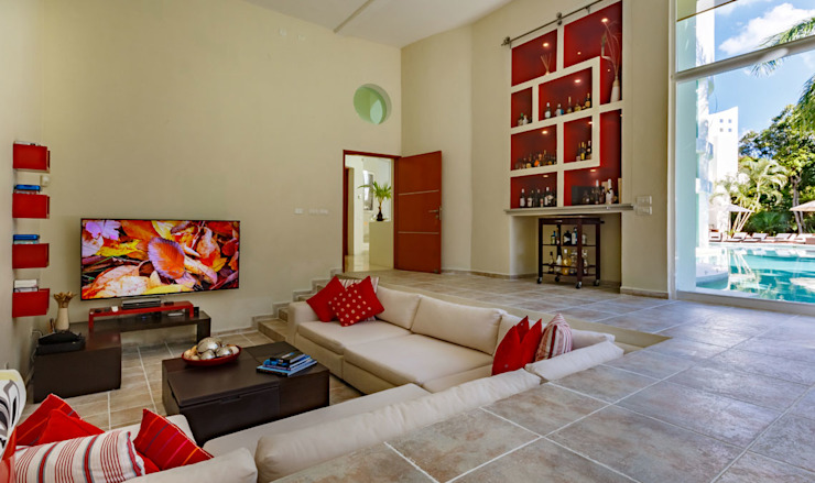 Living room by PINEDA ARQUITECTOS S.A DE C.V, Modern