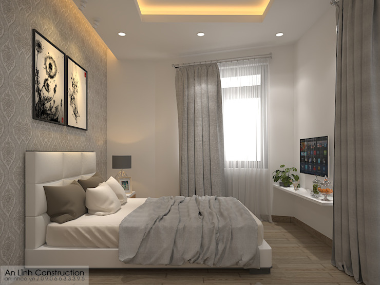 Phòng ngủ bởi CÔNG TY THIẾT KẾ XÂY DỰNG AN LĨNH