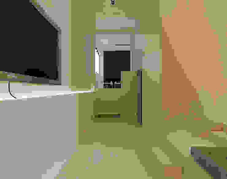Casa XXS - perspective Couloir, entrée, escaliers minimalistes par Makers Embassy Minimaliste