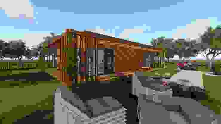 Modelo | T2 127m² Discovercasa | Casas de Madeira & Modulares Casas pré-fabricadas Madeira Castanho