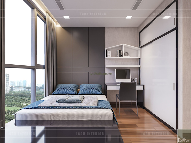 Thiết kế phong cách hiện đại tiện nghi cho căn hộ Park 7 Vinhomes Central Park Phòng ngủ phong cách hiện đại bởi ICON INTERIOR Hiện đại