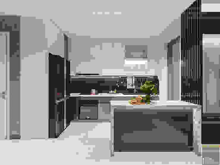 Thiết kế phong cách hiện đại tiện nghi cho căn hộ Park 7 Vinhomes Central Park Nhà bếp phong cách hiện đại bởi ICON INTERIOR Hiện đại