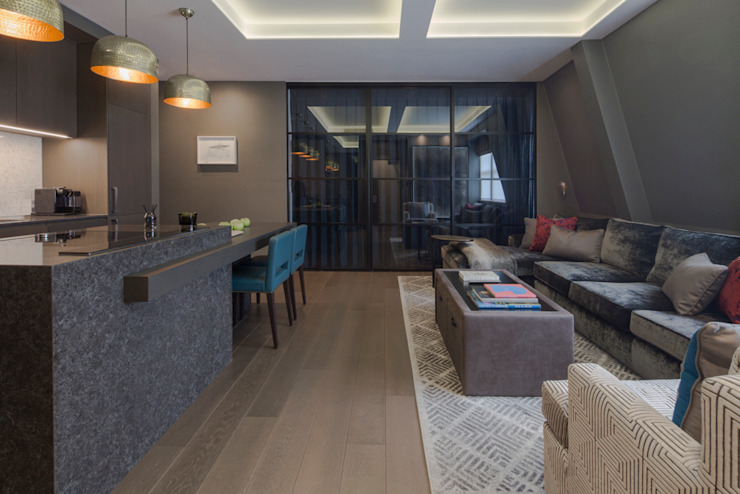 Fitzrovia Apartment - Open-plan Living Room and Kitchen Roselind Wilson Design Livings de estilo moderno