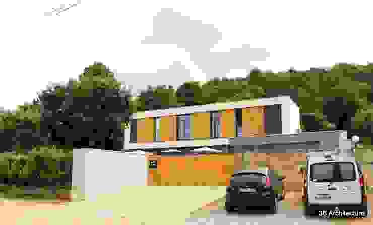 Vue de l'accès à la propriété par 3B Architecture Minimaliste Pierre