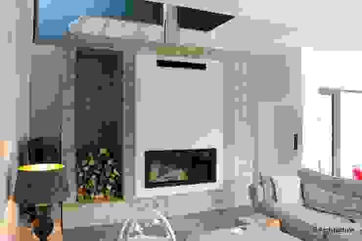 Séjour avec cheminée Salon minimaliste par 3B Architecture Minimaliste Béton