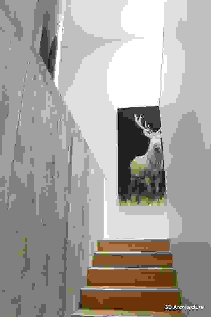 Montée d'escalier avec palier et cheminée garde-corps par 3B Architecture Minimaliste Bois Effet bois