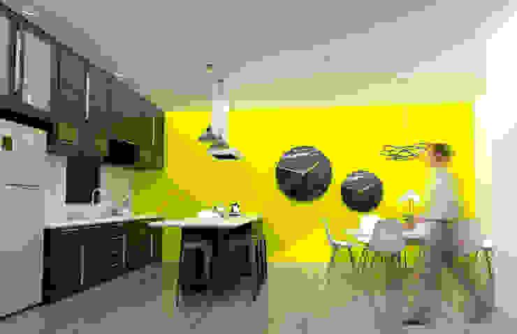 Render Cocina-Comedor Cocinas de estilo moderno de Osuna Arquitecto Moderno