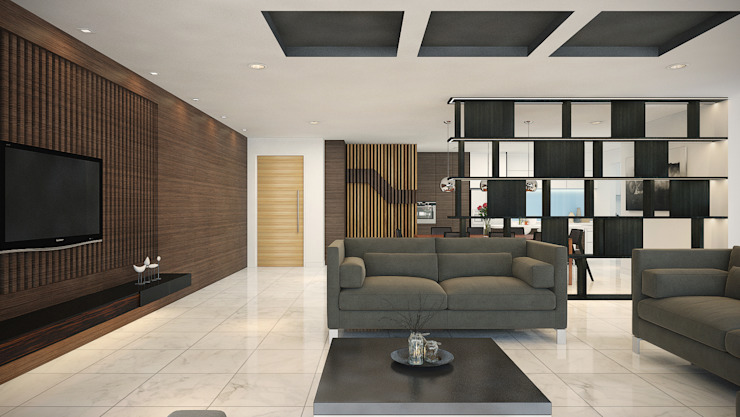 Subang Parkhomes:  Living room by Yucas Design & Build Sdn. Bhd.