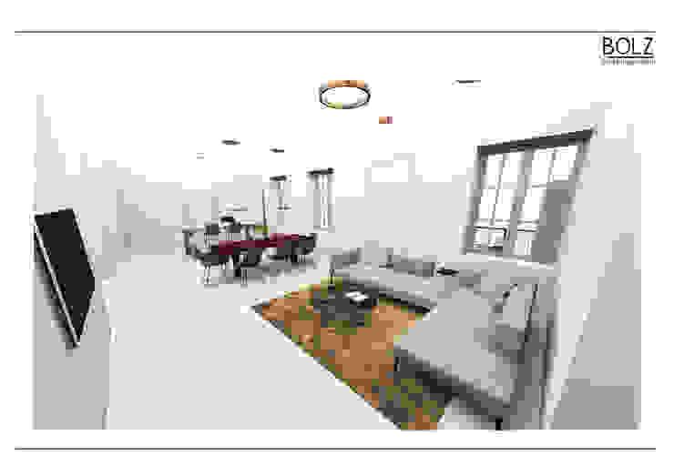 Offener Wohn- und Essbereich mit Küche Moderne Wohnzimmer von Bolz Licht und Wohnen · 1946 Modern