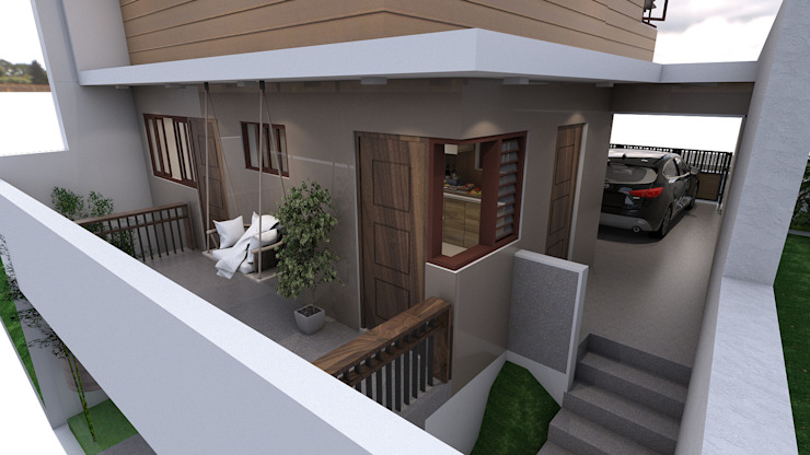 Brand new 2 storey house - Terrace backview Modern balcony, veranda & terrace by homify Modern