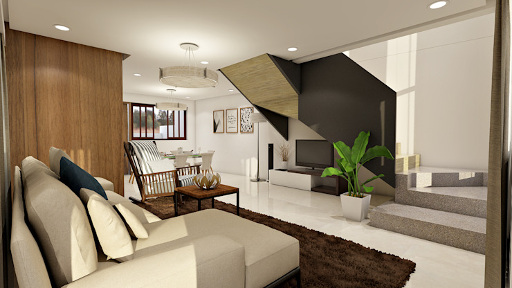 Brand new 2 storey house - Living room and stairs to upper floor Modern Living Room by homify Modern