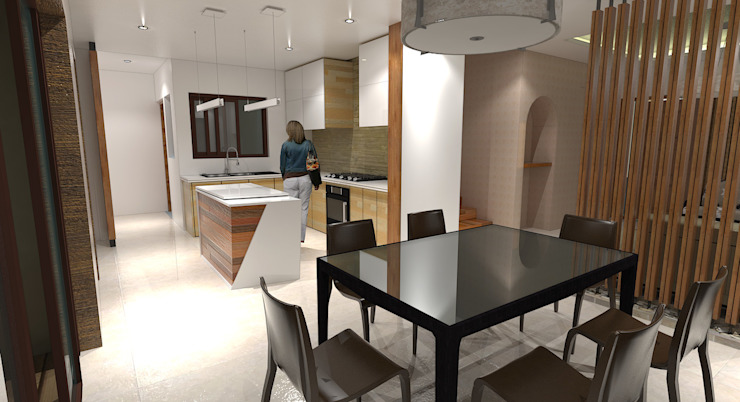 Major renovation and expansion project in Talisay City - Dining and Kitchen area Modern dining room by homify Modern