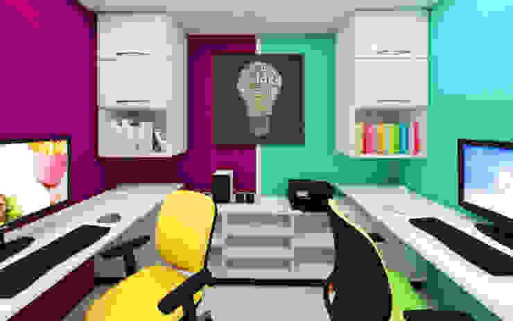 Estudio Oficinas y bibliotecas de estilo moderno de Arquitecto Javier Escobar Moderno Madera maciza Multicolor