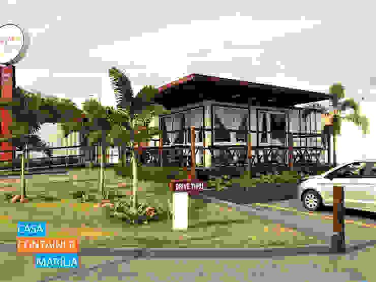 Padaria em Container com Drive Thru Espaços gastronômicos modernos por Casa Container Marilia - Barros Assuane Arquitetura Moderno