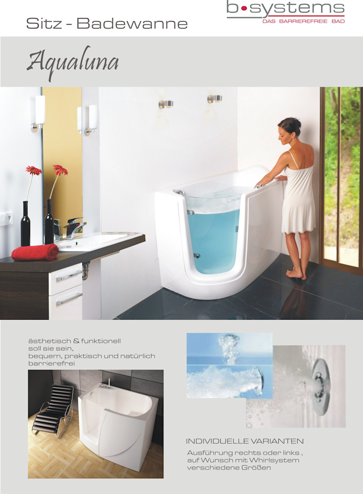 b•systems BathroomBathtubs & showers Bahan Sintetis White