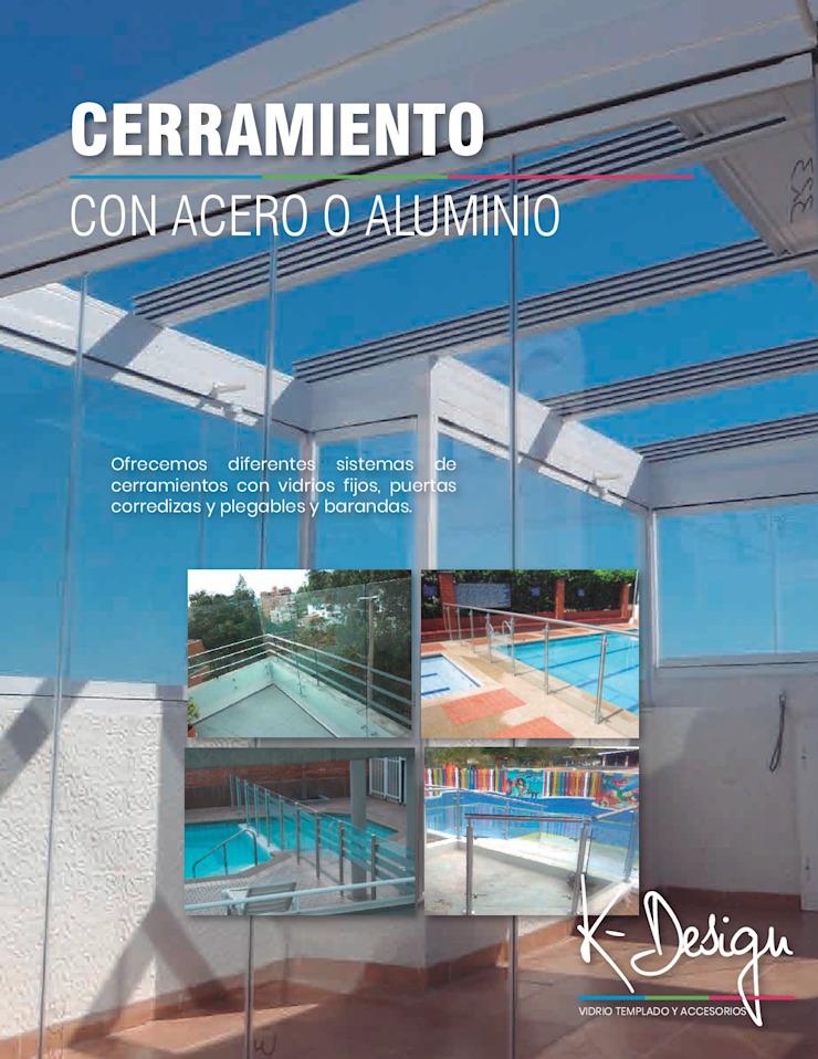 Soluciones en vidrio templado Balcones y terrazas de estilo moderno de .K-Design arquitectura y diseño interior Moderno