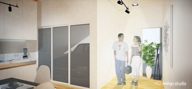 Slice House Pluszerotwo Design Studio Minimalist corridor, hallway & stairs