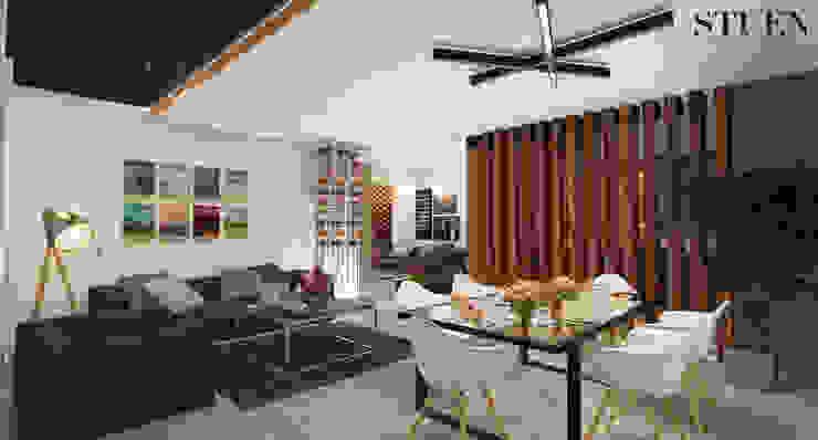 Area social Sala Salones modernos de Stuen Arquitectos Moderno Madera Acabado en madera