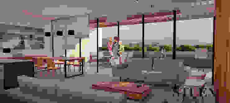 Área social abierta Salones modernos de Stuen Arquitectos Moderno Vidrio
