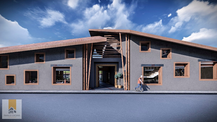 Restaurant Yucay: Restaurantes de estilo  por FRANCO CACERES / Arquitectos & Asociados,