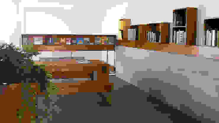 Leeshoek met boekenkasten Moderne gangen, hallen & trappenhuizen van studioMERZ Modern