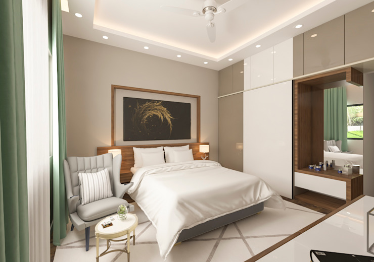 Master Bedroom Samanta's Studio Modern style bedroom Plywood Wood effect