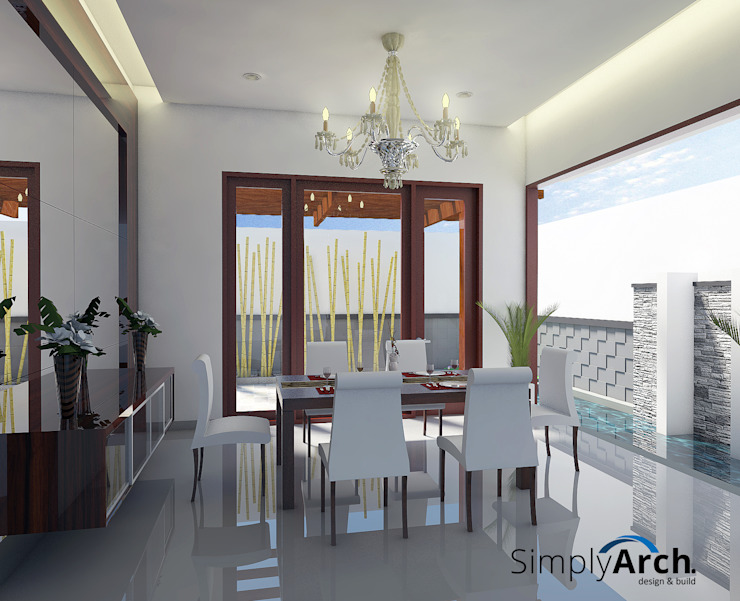 Semi Outdoor Dining Room Minimalist dining room by Simply Arch. Minimalist