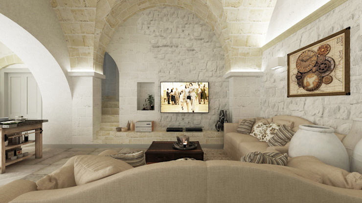 غرفة المعيشة تنفيذ De Vivo Home Design , ريفي