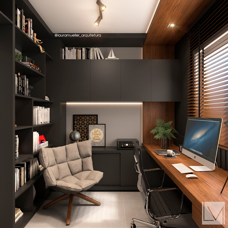 Modern study/office by Laura Mueller Arquitetura + Interiores Modern Wood Wood effect