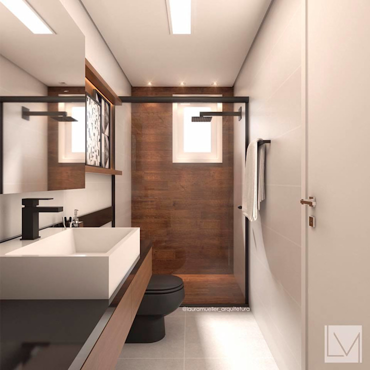 Bathroom by Laura Mueller Arquitetura + Interiores, Modern Wood Wood effect