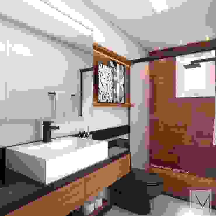 Banheiro moderno Banheiros modernos por Laura Mueller Arquitetura + Interiores Moderno Madeira Efeito de madeira
