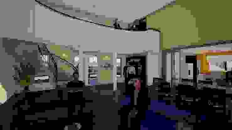 Hall de acceso, puente segundo piso y doble altura Salas de estilo clásico de BIM Urbano Clásico Ladrillos