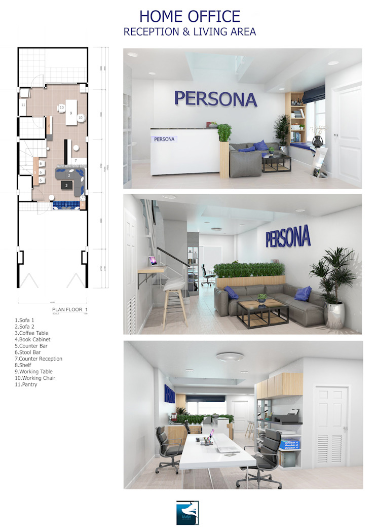 Interior Design : Persona Office Design โดย Blufox eco-solution Co., Ltd. โมเดิร์น