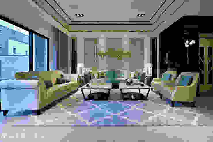 住盛不動產/天鑽V-金迷風尚 现代客厅設計點子、靈感 & 圖片 根據 SING萬寶隆空間設計 現代風