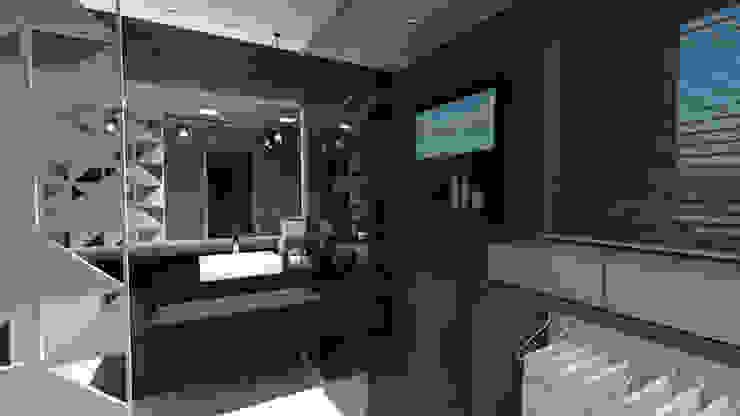 Baños de estilo moderno de Cláudia Legonde Moderno Vidrio