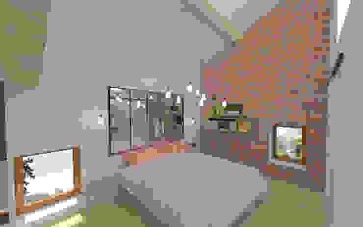 Home staging virtuelle pour la vente d'une maison – Pélussin Chambre moderne par 1.61 design Moderne Briques