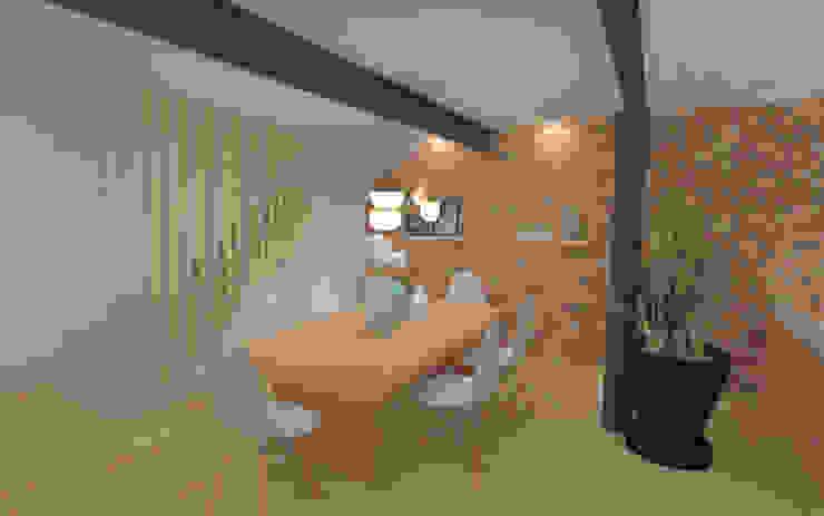 Home staging virtuelle pour la vente d'une maison – Pélussin Salle à manger moderne par 1.61 design Moderne Briques