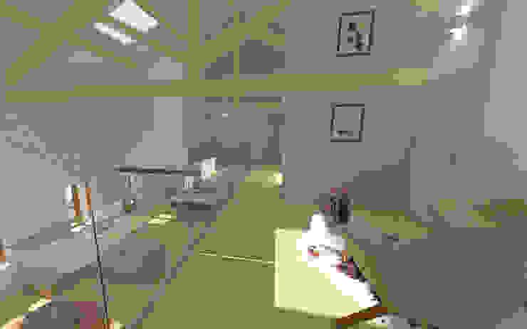 Home staging virtuelle pour la vente d'une maison – Pélussin Couloir, entrée, escaliers modernes par 1.61 design Moderne