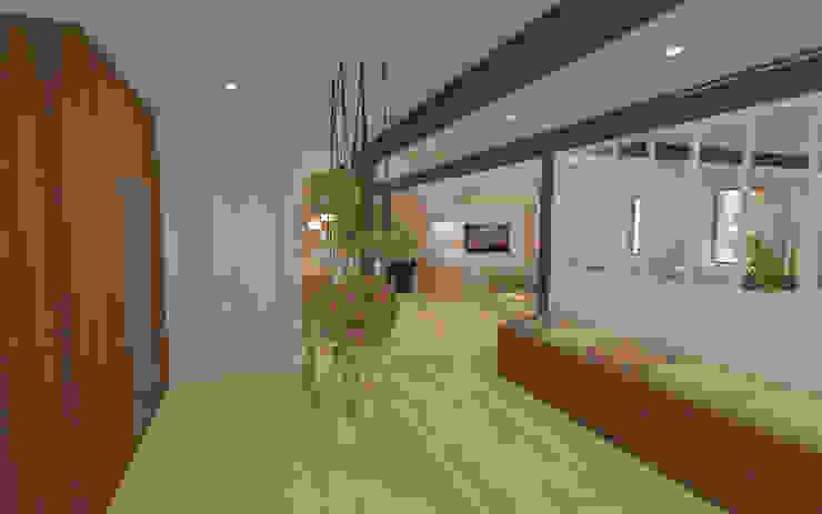 Home staging virtuelle pour la vente d'une maison – Pélussin Couloir, entrée, escaliers modernes par 1.61 design Moderne Bois Effet bois