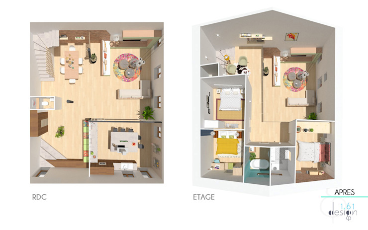Home staging virtuelle pour la vente d'une maison – Pélussin Maisons modernes par 1.61 design Moderne