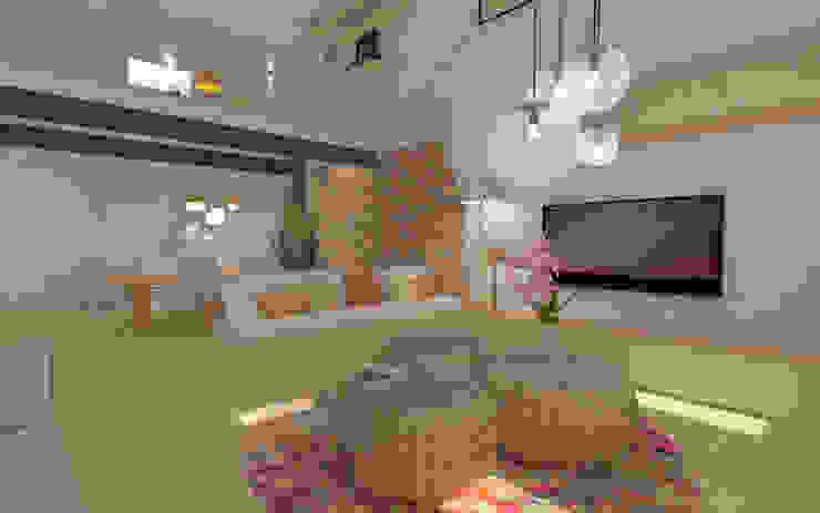 Home staging virtuelle pour la vente d'une maison – Pélussin Salon moderne par 1.61 design Moderne Briques