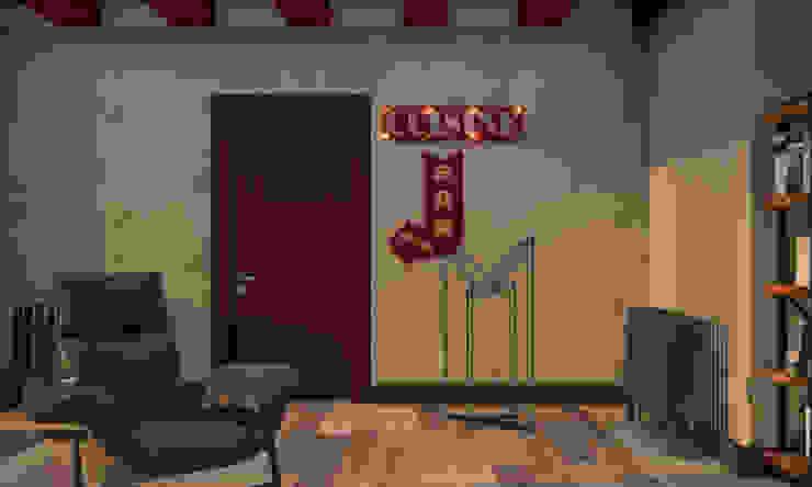 NK Evi Home Office Konsept Proje Atölye Teta İç Mimarlık Endüstriyel Oturma Odası Kırmızı