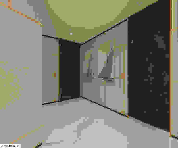 Modern corridor, hallway & stairs by TISSU Architecture Modern Stone