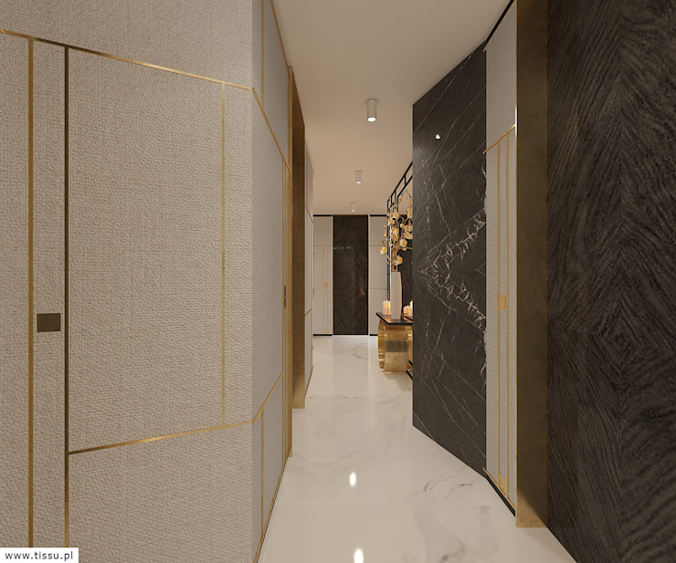 Eclectic corridor, hallway & stairs by TISSU Architecture Eclectic Silver/Gold