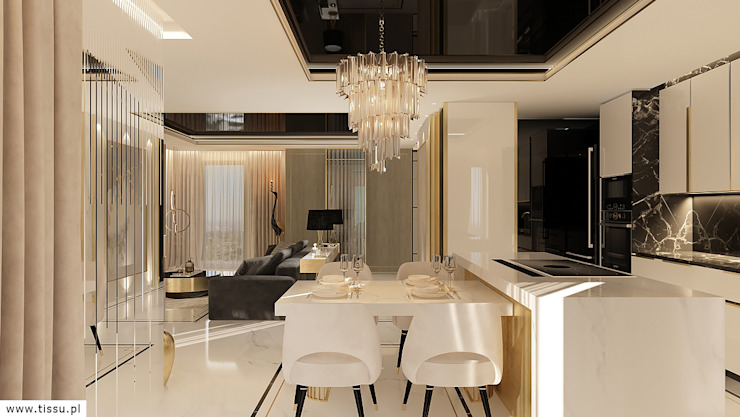 Modern dining room by TISSU Architecture Modern Marble