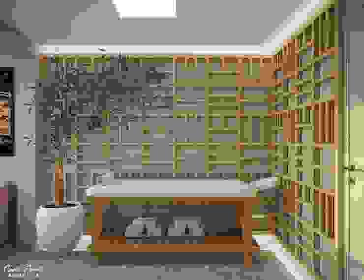 Spa - Sala massagem Clínicas modernas por Camila Pimenta   Arquitetura + Interiores Moderno Madeira Efeito de madeira