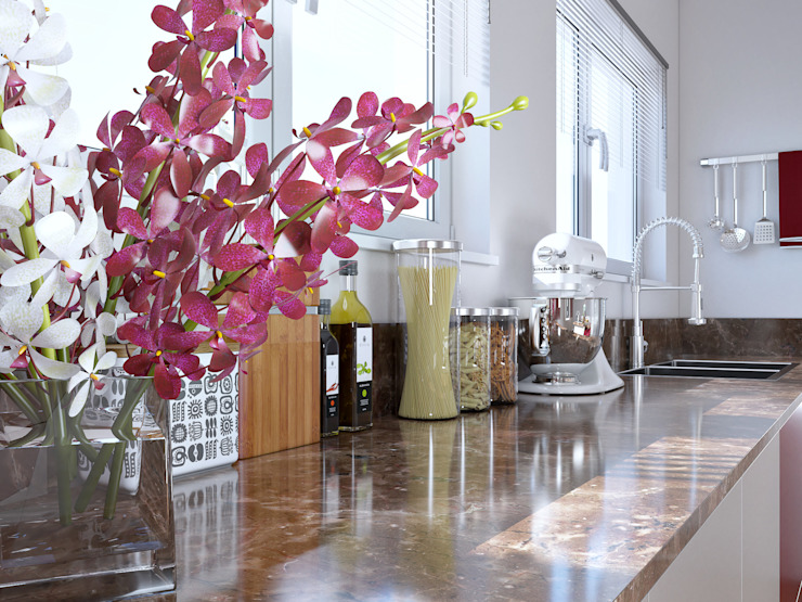 Burgundy Gloss Kitchen View 4 by Linken Designs Modern لکڑی Wood effect