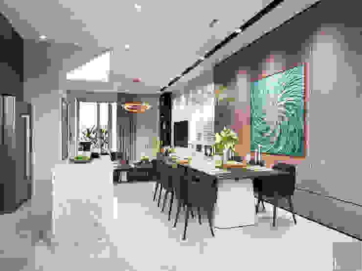 THIẾT KẾ BIỆT THỰ PALM CITY – Nét đẹp giao hòa trong không gian sống hiện đại Phòng ăn phong cách hiện đại bởi ICON INTERIOR Hiện đại