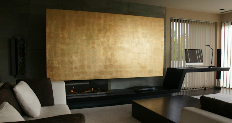 Fireplace and sliding panel Studioapart Interior & Product design Barcelona Living room