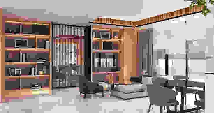 Veranda Apartement Ruang Keluarga Modern Oleh nakula arsitek studio Modern